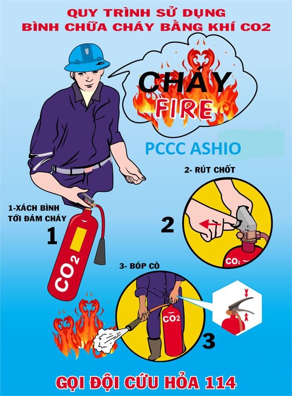 Cách sử dụng bình chữa cháy co2 3kg